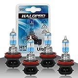HaloPro H11 12V 55W Ultra white Halogen Bulb Xenon White Halogen Fog driving light,Low beam bulb,DRL light,ACURA Chevy GMC Dodge,Pack of 4pcs