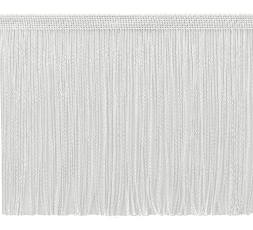 DÉCOPRO 11 Yard Value Pack of 6 Inch Chainette Fringe Trim, Style# CF06 Color: White - A1 (32.5 Feet / 10M)
