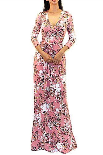 Sleeve Tie Waist Dress - Vivicastle Women's Printed V-Neck 3/4 Sleeve Faux Wrap Waist Tie Long Maxi Dress (Medium, A30, Mauve)