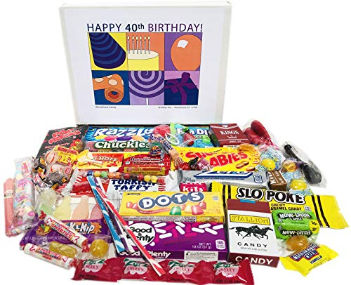 (Woodstock Candy 40th Birthday Gift Box of Nostalgic Retro Candy for Men and Women)