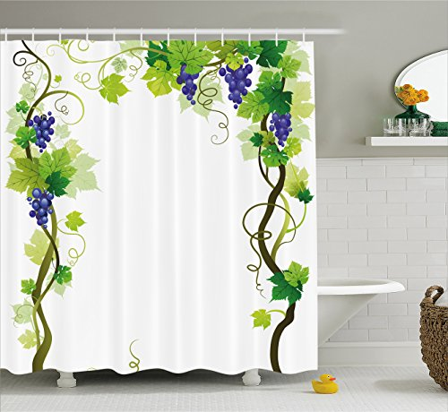 Green Harvest Fabric (Ambesonne Grapes Home Decor Shower Curtain, Vineyard with Swirled Leaf Fresh Fruit Garden Harvest Season Wine Growth, Fabric Bathroom Decor Set with Hooks, 70 Inches, Green)