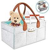 Baby Diaper Caddy Organizer Portable Nursery Diaper Storage Bin for Changing Table Large Car Travel Organizer,Gray