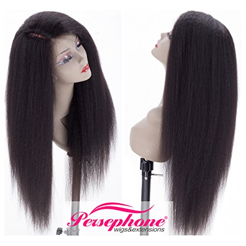 """Search : Real Looking Italian Yaki Silk Top Human Hair Wigs 4"""" Right Invisible Part Depth For Black Women Brazilian Remy Kinky Straight Silk Base Lace Front Wig African American With Baby Hair 130% 18 inch #1B"""