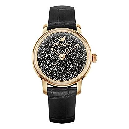 Swarovski Crystalline Hours Armbanduhr für Frauen, schwarzes Lederarmband, schwarzes Kristall, rotgold glänzendes PVD-Finish 1