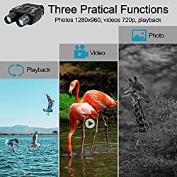 "Aurho Night Vision Binoculars, 720P HD Digital Infrared Hunting Binocular 300 Yards IR Camera with Video Recorder with 2.31"" TFT LCD Photos Videos Playback for Wildlife"