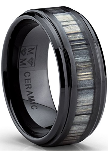 Black Ceramic Wedding Band Ring with Real Zebra Wood Inlay, 9MM Comfort Fit, Size 12 (Inlay Wedding Band Mens)