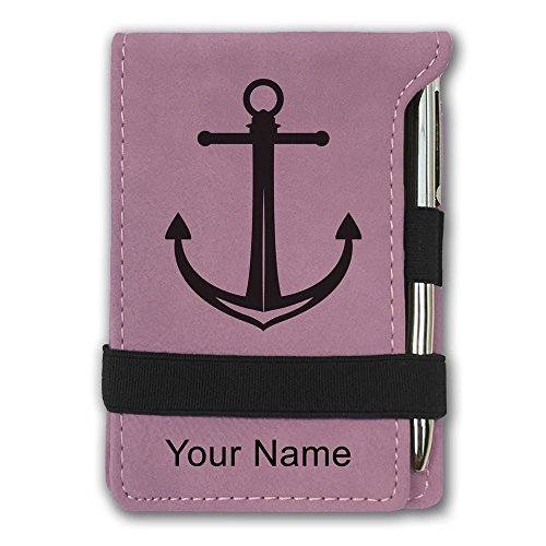 Mini Notepad, Boat Anchor, Personalized Engraving Included (Pink)