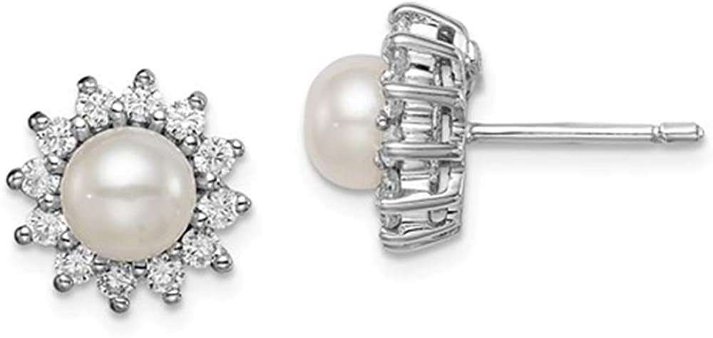 Solid .925 Sterling Silver Rhodium Plated CZ and FW Cultured Pearl Post Ear 11 mm