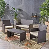 Great Deal Furniture | Patio Chat Set | Outdoor Wicker | Seating for 4 | Brown and Beige For Sale