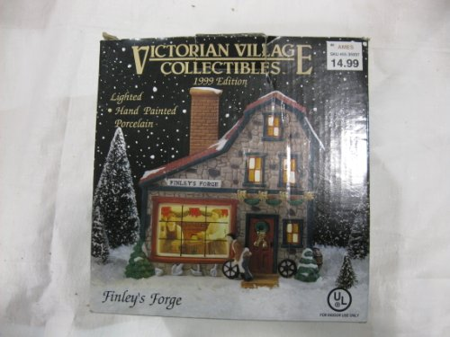 Beautiful Hand Painted Porcelain Small Town Finley's Forge Shop. Internally Illuminated Old Fashioned Snow Covered Holiday Decorated Miniature Shops - Incredibly Ornate Detail Is Ideal for Display on Table Top and Mantle or to Complete the Ultimate Christmas Village. Victorian Village Collectibles 1999 Edition
