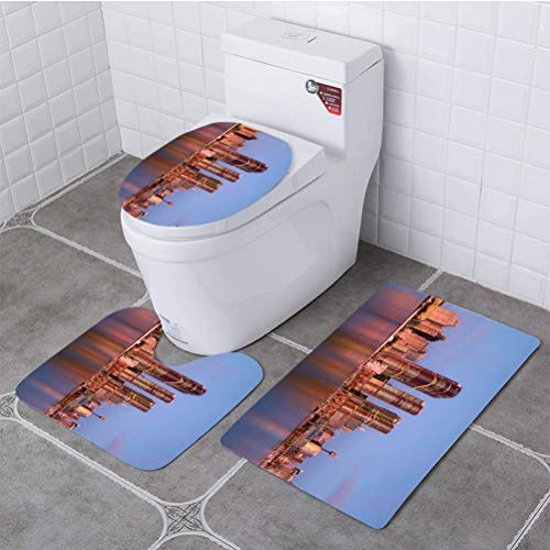 - BEISISS Bathroom 3 Piece Set Sydney Darling Harbour on Sunset Soft Flannel Cloth Washable Toilet Seat Covers Toilet Lid Covers Cushions Pads Skid Proof Bathroom