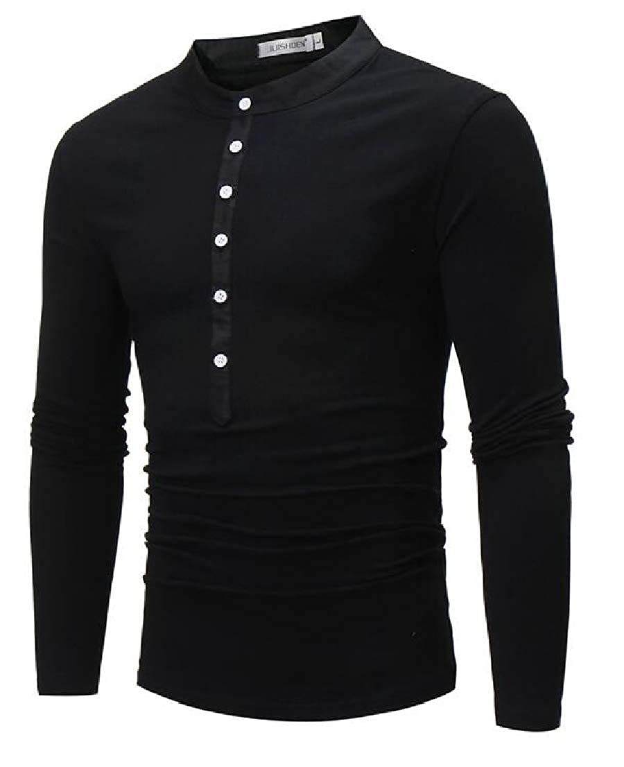 Fllay Mens Long Sleeve Buttons Plain Casual Slim Fit Banded Collar Shirt