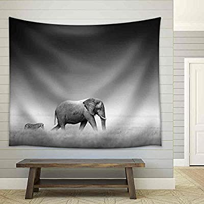 Elephant with Zebra Behind on Open Plains of Etosha Artistic Processing - Fabric Wall Tapestry Home Decor - 51x60 inches