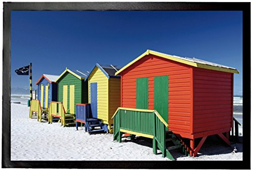 Beaches Door Mat Floor Mat - Colourful Beach Huts In South Africa (24 x 16 - In Huts Africa