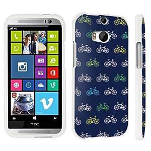 DuroCase ? HTC One M8 Hard Case White - (Navy Bicycle)
