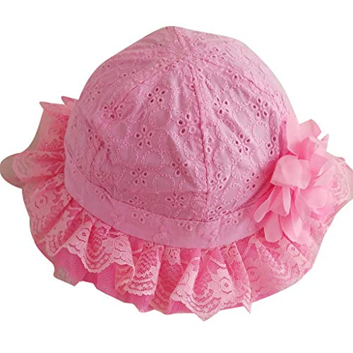 Swyss Baby Infant Girls Sun Hats Lovely Floral Lace Hollow Sunshade Bucket Hats Hot Pink