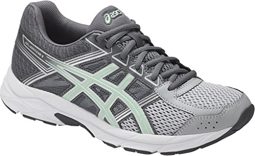 ASICS Womens Contend 4 Running Sneaker, Mid Grey/Glacier Sea/Silver, Size 12 Wide