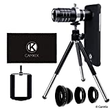 CamKix Lens Kit Compatible with Samsung Galaxy S8 & S8 Plus - 12x Telephoto Lens, Fisheye Lens, Macro Lens, Wide Angle Lens, Tripod, Phone Holder, Holder Ring, Hard Case (2X), Velvet Bag and Cloth