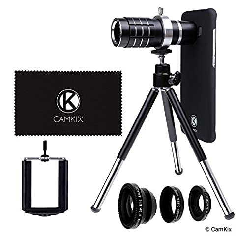CamKix Lens Kit for Samsung Galaxy S8 and S8 Plus - 12x Telephoto Lens, Fisheye Lens, Macro Lens, Wide Angle Lens, Tripod, Phone Holder, Holder Ring, Hard Case (2x), Velvet Bag and Cleaning - Velvet Lens