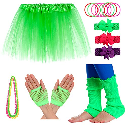 JustinCostume Girls' 80's Accessories Headwear Skirt Leg Warmers Gloves Green -