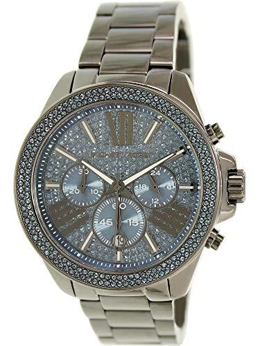 (Michael Kors Wren Chronograph Blue Crystal Pave Dial Gunmetal Ion-plated WOMENS Watch MK6097)