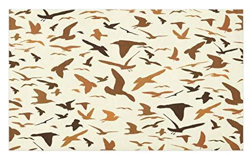 Wildlife Silhouette Design - Lunarable Seagulls Doormat, Seagull Silhouettes Wildlife Crowded Classic Antique Design Creative Ornament, Decorative Polyester Floor Mat with Non-Skid Backing, 30 W X 18 L Inches, Brown Cream