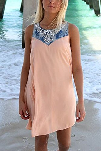Mangas Vestido Color De De Bloque Mujeres Rosa Camisetas Túnica Beachwear Casual Sin FEqw5nnCS