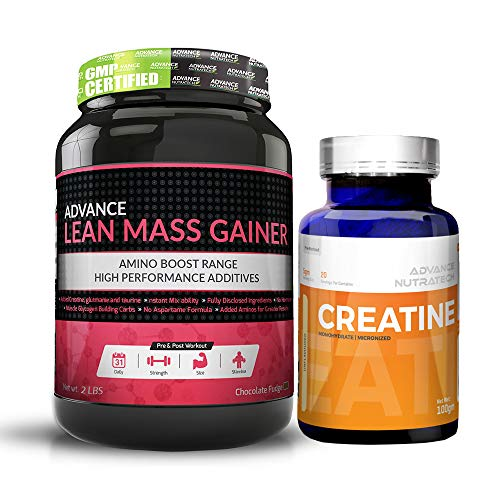 Lean Mass Chocolate - Lean Mass Gainer 2LBS Chocolate + Creatine Monohydrate unflavored 100 gm with 14 Servings.