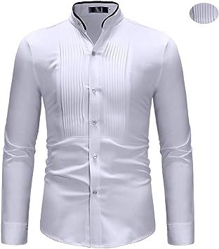 X&Armanis Camisa Vintage para Hombre, Camisa de Cuello Alto con Contraste de poliéster Camisa de Vestir de Manga Larga Delantera Plisada,S: Amazon.es: Deportes y aire libre