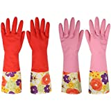 Dishwashing Gloves, Non-slip Household Kitchen Cleaning Rubber Gloves with Lining for Women (2-Pack)