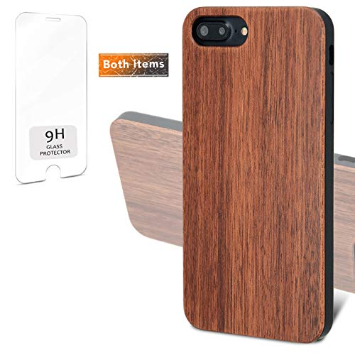 (iProductsUS Real Wood Phone Case Compatible with iPhone 8, 7, 6/6S (Regular Size) and Screen Protector- Blank Dark Cherry Wood Cases, Built-in Metal Plate, TPU Shockproof Protective Cover (4.7