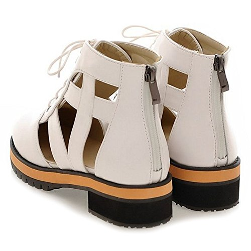 CuteFlats Sandal Boots with Flats and Lace up Martin Shoes with Large Size Available White EMrqjx
