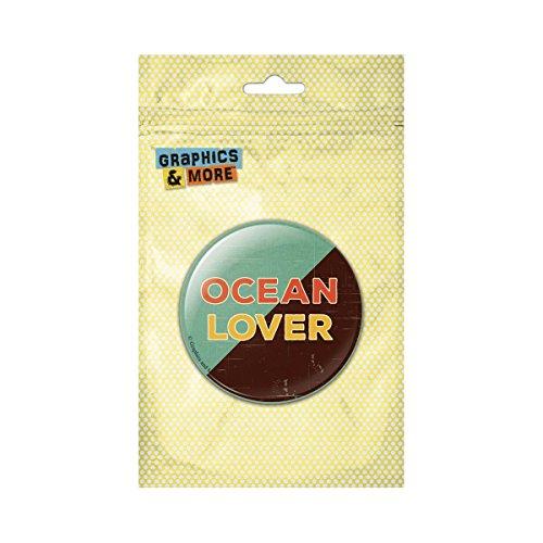 Vintage Pinback Button - Ocean Lover Retro Distressed Vintage Pinback Button Pin Badge - 1 Inch Diameter