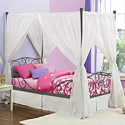 Girl's Grey Metal Canopy Bed Twin Sized Princess Gray Frame Vintage Antique French Country Victorian Style Kids Bedroom Furniture Mattress Mosquito Nets Curtains Bedding Pillows Blankets Not Included
