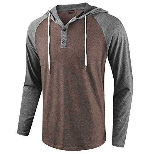 Hooded Sleeve Casual Long - Moomphya Men's Jacquard Knitted Casual Long Sleeve Raglan Henley Jersey Hoodie T Shirt (Darkgrey.Brown, X-Large)