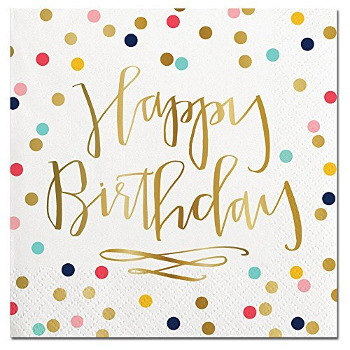 Happy Birthday Foil Design Cocktail Party Napkins - 20 Count ()