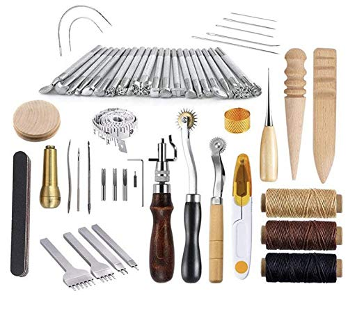 Kendray Leather Craft DIY Hand Tools Kit 59 Pieces Stamping Set Saddle Making with Groover Awl Pressure Cloth Tooth Tool Waxed Thread Needles Prong Punch Scissors Wood Burnisher by Kendray (Image #8)