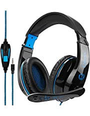 PS4 Gaming Headset Headphone,A9 Over Ear Setero PC Gaming Headset with Microphone,Noise Canceling 3.5mm Jack for PS4 New Xbox One/Mac/PC/Computer (Black Blue)