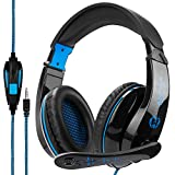 Xbox One PS4 Gaming Headset with Microphone, Stereo Over Ear Headphones for PC Mac Notebook Phones iPad Nintendo Switch Games(Black Blue)