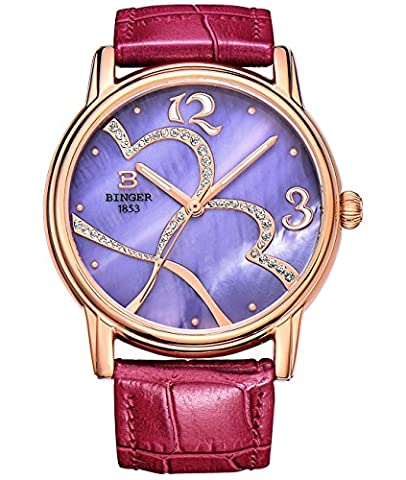 Women Mother Pearl Dress Watches Music Note Diamond Rose Gold Bezel Leather Strap (purple sapphire (Purple Gold Watch)