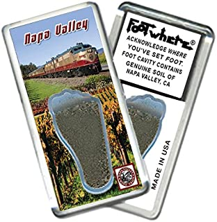 """product image for Napa Valley""""FootWhere"""" Souvenir Fridge Magnet. Made in USA. (NPV205 - Wine Train)"""