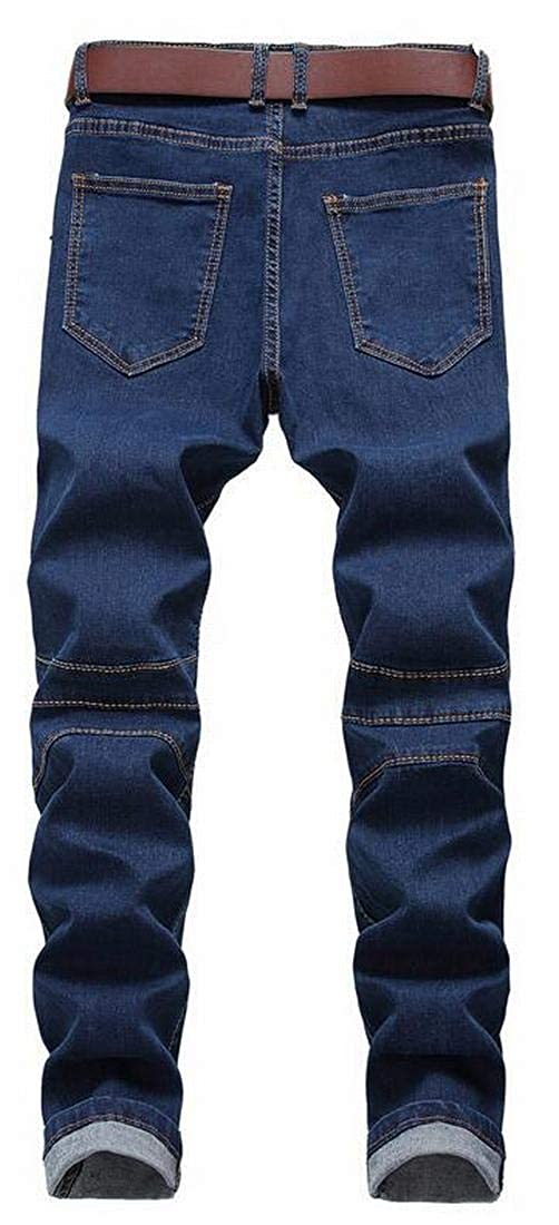 ARTFFEL Mens Ruched Moto Biker Slim Fit Stretch Ripped Holes Jeans Denim Pants