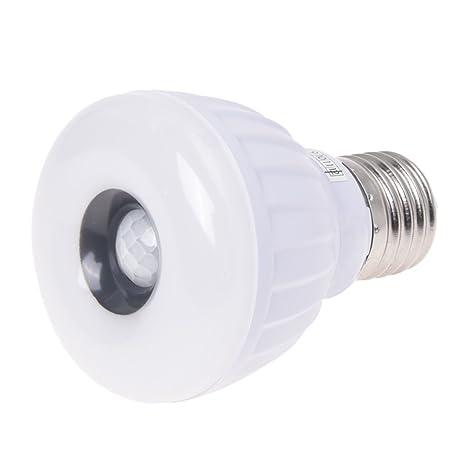 SODIAL(R) Lampara Bombilla E27 25 LED 3528 SMD Sensor de Movimiento Blanco Seguridad