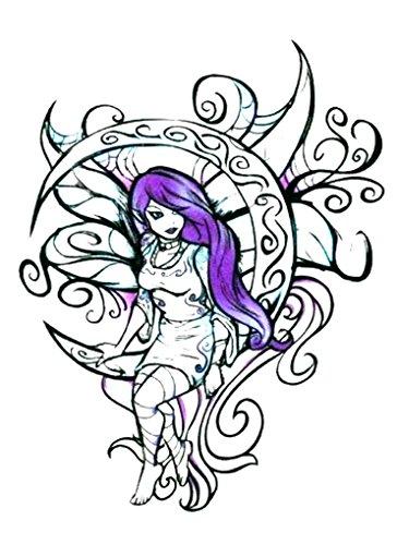 Moon Temporary Tattoo (Wicked Midnight Moon Fairy Temporary Body Art Tattoos 2.5