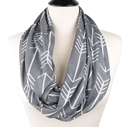ed Infinity Scarf with Zipper Pocket, Summer Fashion Scarves (Grey) (Infiniti Scarf)