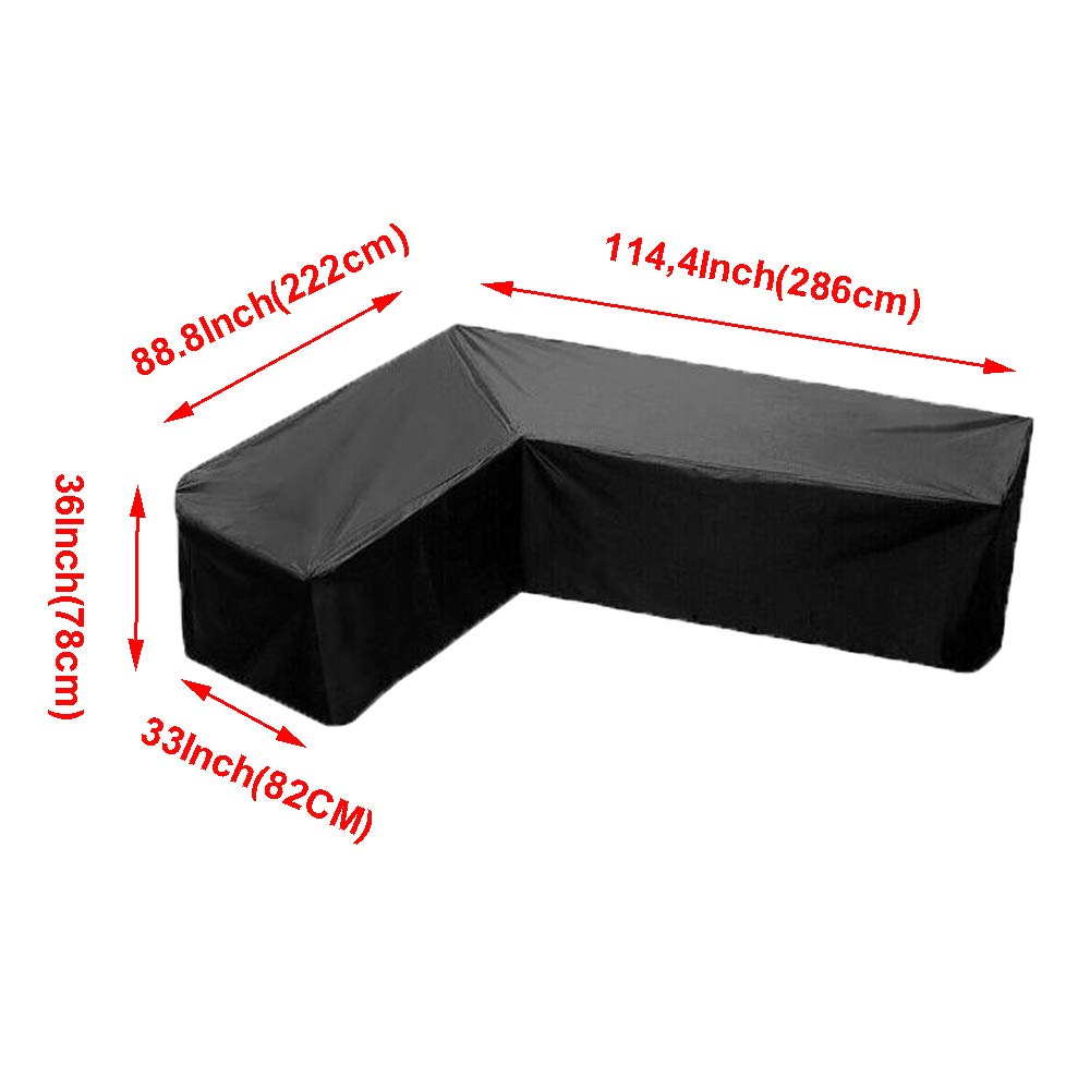 86x86Inch Patio Sectional Lounge Sofa Furniture Set Corner Cover Waterproof Dustproof Protectors-V Shaped Comily Plus