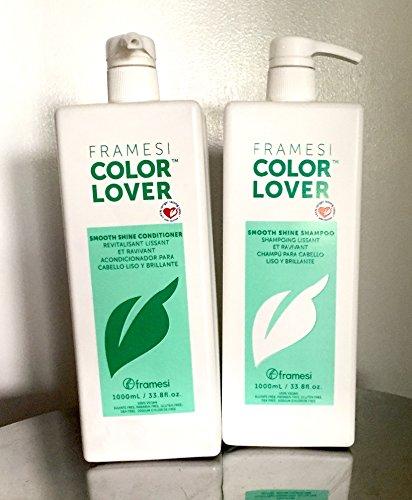Framesi COLOR LOVER Smooth Shine Shampoo & Conditioner 33.8 oz ,1L , Duo deal (Conditioner Shine Color)