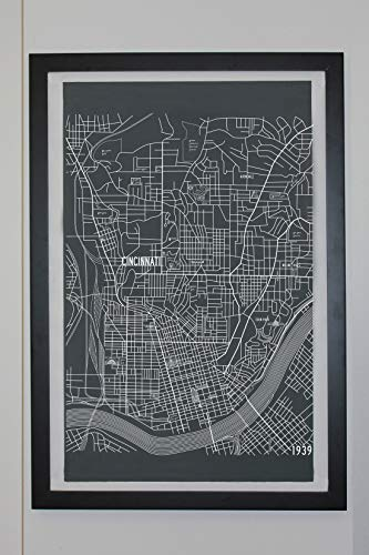 Cincinnati Ohio Map Canvas Poster 24 x 36