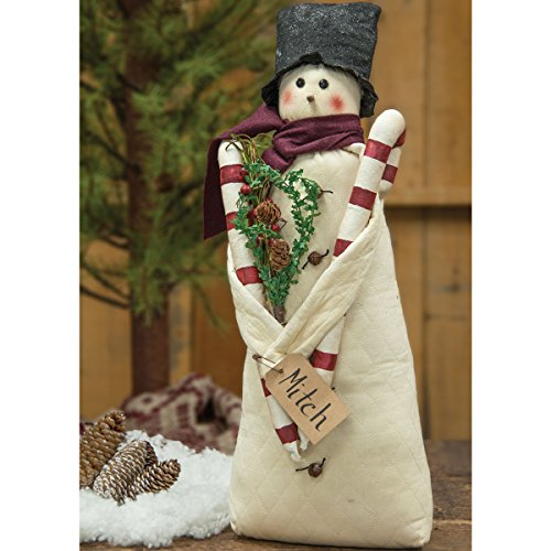 """CWI Gifts G90037 22"""" x 7"""" Mitch Fabric Snowman Doll in To..."""