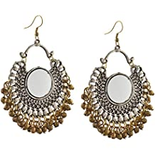 Oreleaa Fashion German Silver Afghani Dangler Hook Chandbali Earrings Mirrors For Girls and Women